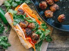 Meatball Banh Mi, by thewoksoflife.com Use beef instead of pork so can eat with Daniel
