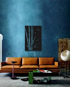 Tips That Help You Get The Best Leather Sofa Deal. Leather sofas and leather couch sets are available in a diversity of colors and styles. A leather couch is the ideal way to improve a space's design and th Canapé Design, House Design, Loft Design, Salon Design, Chair Design, Public Seating, Blue Walls, Dark Walls, Colorful Interiors