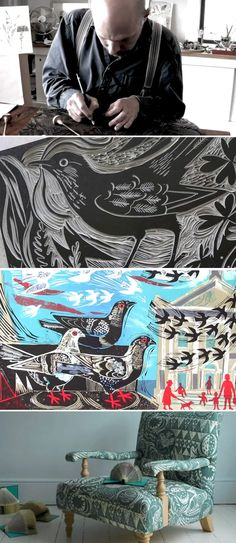 Mark Hearld created this lovely pattern for some fabric or upholstery material! Linocut Prints, Art Prints, Block Prints, Arte Popular, Wood Engraving, Grafik Design, Art Plastique, Teaching Art, Bird Art