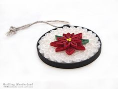 Holiday decor Poinsettia ornament christmas by QuillingWonderland, $16.00