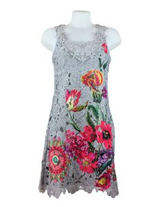 101 Idees Grey Lace Pink Floral Dress £39.99 A beautiful all over lace dress from 101 Idees. An attractive pink floral print on a silver grey based dress.