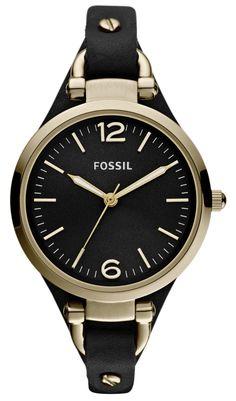 Flot armbåndsur til kvinder i guld og sort - Fossil Georgia ES3148