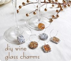 Add a wine glass charm. | 24 Clever Things To Do With Wine Glasses