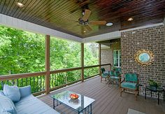 This porch can be accessed from the great room and the master suite. Plan #1234-The Fincannon. http://www.dongardner.com/plan_details.aspx?pid=3746. #Rear #Porch #Outdoor