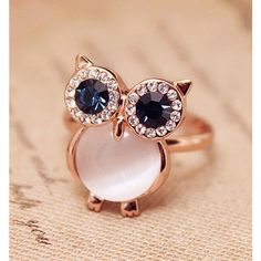 Cheap Lovely Owl Opal Opening Animal Ring For Big Sale!Lovely Owl Opal Opening Animal Ring is a simple but unusual ring. Diamond Bands, Diamond Wedding Bands, Wedding Rings, Cute Rings, Unique Rings, Women's Rings, Fashion Rings, Fashion Jewelry, Ladies Silver Rings