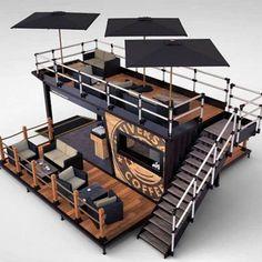 Container Coffee Shop, Container Shop, Container House Design, Container Houses, Cafe Shop Design, Coffee Shop Interior Design, Deco Restaurant, Restaurant Design, Modern Restaurant