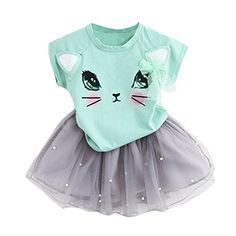 TIFENNY Kids Girls Summer Fashion Cartoon Little Kitten Printed Shirt Dress Sets 6T Green * Continue to the product at the image link.Note:It is affiliate link to Amazon.