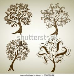 Vector set of designs with decorative tree from leafs. by Kynata, via ShutterStock