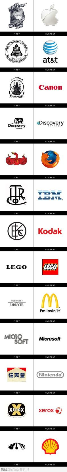 Before and after for famous logos
