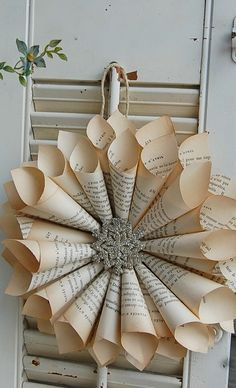 Old Book Page Wreath