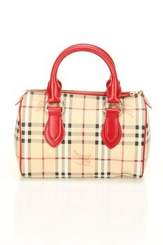 Burberry Bowling Style Handbag with Red Accents.