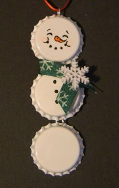 snowman bottle cap ornament... grandpa always loved christmas