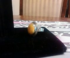 Bali Ring with Bumble Bee Jasper Stone. Size 9 Multi-Color. Oval sterling silver