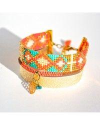 Bracelet manchette tissage miyuki orange turquoise et doré, biais doré et macramé, plume -Bijoux ENORA-