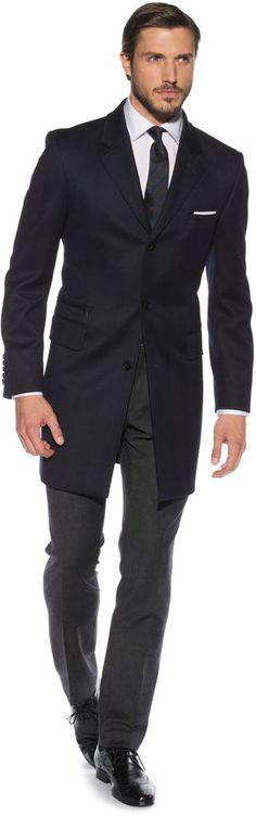 Edison Navy Herringbone Coat