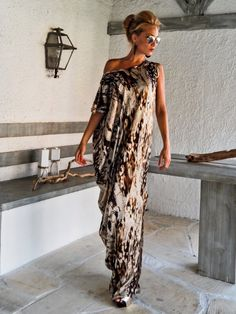 Satin Maxi Dress Kaftan / Summer Kaftan / Asymmetric Plus Size Dress / Oversize Loose Dress / #25009