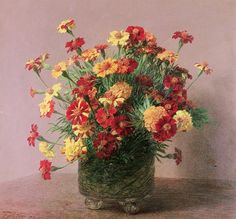 Learn more about Oiellets dInde 1893 Ignace Henri Jean Fantin-Latour - oil artwork, painted by one of the most celebrated masters in the history of art. Flower Vases, Flower Art, Maurice De Vlaminck, Henri Fantin Latour, Amber Tree, Art Addiction, Bouquet, Orange Flowers, Victoria