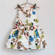 Poliéster de Algodón Lindo Niños Niñas Bebés Vestido Sin Mangas de Impresión Búho Tutú Vestidos de Una Sola Pieza de Ropa de Fiesta(China (Mainland))