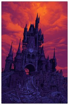 'to all that come to this happy place.' Timed Release print by Daniel Danger Fantasy Landscape, Landscape Art, We All Mad Here, Dark Castle, Dark Artwork, Creepy Art, Dark Fantasy Art, Fantastic Art, Halloween Art