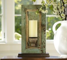 diy skinny cabinet door repurpose to candle holder