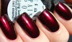 Dark Bordeaux Glitter Nails.