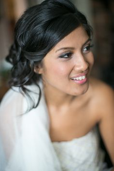 romantic bridal makeup + hair // photo by Sandy Tam // http://ruffledblog.com/ontario-vintage-handmade-wedding