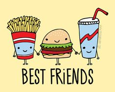 Fast Food Best Friends Frameable Illustration Print by Buck and Libby