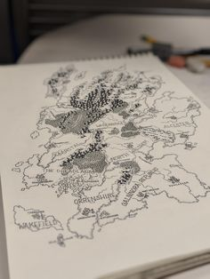 Tried to take a fancy perspective shot of my latest map sketch Fantasy Map Making, Fantasy World Map, Fantasy Rpg, Medieval Fantasy, Map Sketch, Rpg Map, Old Maps, Environment Concept Art, City Maps