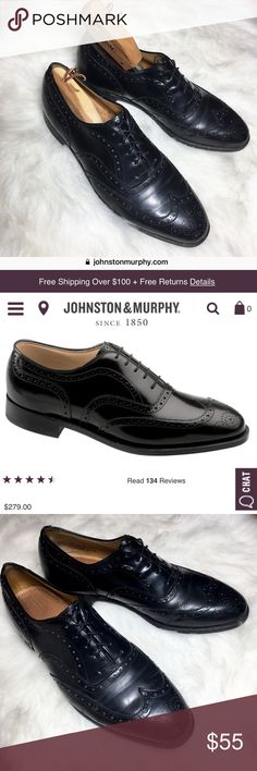 Johnston & Murphy Greenwich Wingtips & shoe tree Upper-echelon wingtip, distinctively detailed for elegance.  Crafted with European leather. Trampoline Cushioning System.  Wear as shown in pics  Includes cedar shoe Tree:  Protects the leather, fabric, stitching and soles from moisture damage. Cedar's unique wicking action quickly absorbs moisture, acid and salts, thereby reducing cracking and deterioration. Smooth's out linings and insoles, making shoes more comfortable to wear. Smooth's out…