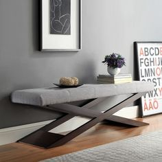 Shop for INSPIRE Q Bosworth Grey Linen Wood X Base Bench. Get free shipping at Overstock.com - Your Online Furniture Outlet Store! Get 5% in rewards with Club O!