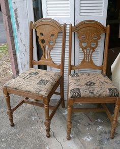 4 Farmhouse Chairs Original FinishVintage by poppycottage on Etsy, $295.00