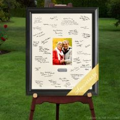 Personalized Anniversary Signature Frame with Engraved Plate brings a new spin on the old-fashioned guest book, this Personalized Celebrations Anniversary Signature Frame puts their good wishes where you can see them.  Guests add their signatures and sentiments to the photo mat. Insert a picture of the honoree to create a memorable tribute to that special day. Brushed Silver plate is personalized with the name of honoree and event date.