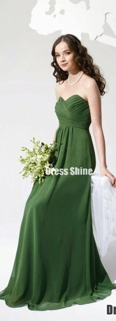 emerald green sweetheart chiffon long bridesmaid dress, evening dress, #promdress #wedding