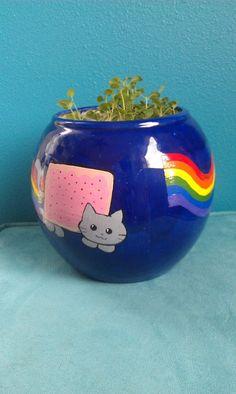 NyanCat Flower Pot by BATCosplay on Etsy, $15.00