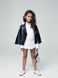 Children Kid Layering Style Leather White button up Crisp  Fashion /// telva-zoe-esperanzamoya-3