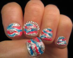 ☆★4th Of July camouflage Nails! Their so simple to recreate because the messier the better! ☆★