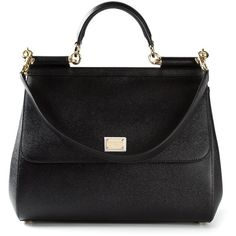 Dolce & Gabbana Sicily Tote (6.263.600 COP) ❤ liked on Polyvore featuring bags, handbags, tote bags, purses, black, black purse, black tote bag, black leather tote bag, black handbags and real leather tote
