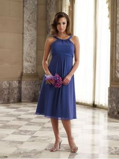 Chiffon Banded Modified Halter Neckline Straps and Empire BodiceA-line Bridesmaids Dress