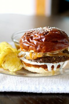 French Onion Burgers with Onion Au Jus and Horseradish-Chive Sauce