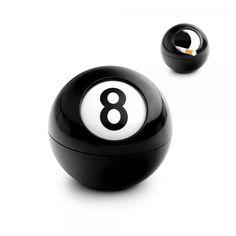 Cinzeiro com forma de bola de bilhar. Uma presente decorativo e original.