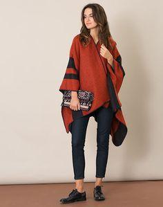 1.2.3 Paris - Les accessoires automne-hiver 2016 - #Poncho #orange Melvyn 69€ #123paris #mode #fashion #shopping #accessoire #accessories