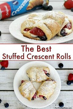 Stuffed Crescent Rolls Breakfast Recipe – If you like recipes using crescent rolls and cream cheese, you're going to love this crescent roll breakfast recipe with berries! It's so good though that you may not know whether to eat these stuffed recipes with Recipes Using Crescent Rolls, Crescent Roll Desserts, Dessert With Crescent Rolls, Cream Cheese Crescent Rolls, Cresent Rolls Breakfast, Stuffed Crescent Rolls, Cream Cheese Danish, Gourmet Recipes, Cooking Recipes