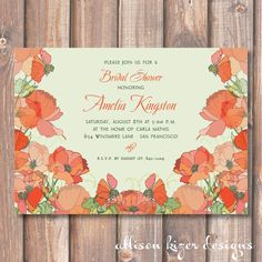 Poppies Printable Invitation by http://etsy.com/shop/AllisonKizerDesigns