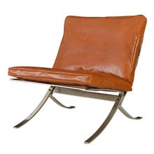 Barcelona-Style Lounge Chair w/ Leather Cushions
