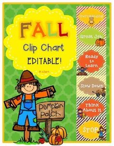 Add excitement to your classroom this fall with this seasonal, EDITABLE clip chart. Clip charts help encourage positive behavior in the classroom. This chart has 6 levels for students to move their clips depending on their behavior choices. ~You can pick and choose which levels you want to use.