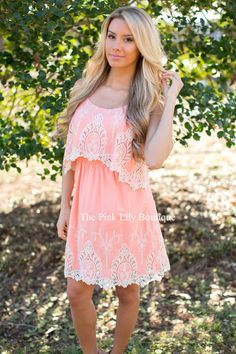 Sweet and Southern Peach Lace Dress - The Pink Lily Boutique