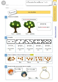 CP:NUMERATION CALCUL.Compter avec les doubles Le Double, Map, Living Alone, Names, Math Worksheets, Mathematical Practices, Writing Notebook, French Classroom, Location Map