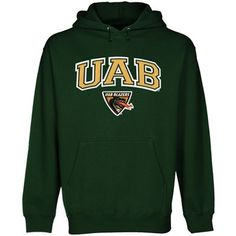 Alma Mater UAB Blazers Forest Green Logo Arch Applique Midweight Pullover Hoodie The Joy Of Becoming College Football, But Football, Portland State University, University Of Alabama, Mens Sweatshirts, Hoodies, Green Logo, Michigan State Spartans, Team Apparel