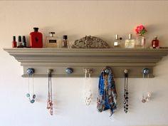 """42"""" Metallic Silver Jewelry Holder Shelf, Jewelry organizer shelf, Crown Molding Jewelry Shelf with 7 Decorative Knobs by HamptonsHangups on Etsy"""