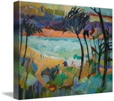 """""""WindyInlet"""" by Sue Nosler Gray, Round Rock, Texas // Tropical Inlet on a windy day.  The viewer can actually feel the warm day and the breeze moving the trees overhead.  Stylized tropical sea or ocean scene with hills in background and shaped plants in foreground.  Family looking out over  the water.  Hawaii or Tahiti, it coul... // Imagekind.com -- Buy stunning fine art prints, framed prints and canvas prints directly from independent working artists and photographers."""